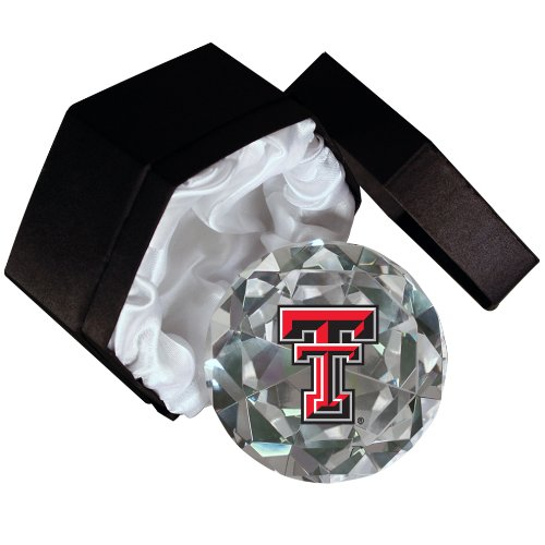 NCAA Texas Tech Red Raiders Logo on a 4-Inch High Brillance Diamond Cut Crystal Paperweight