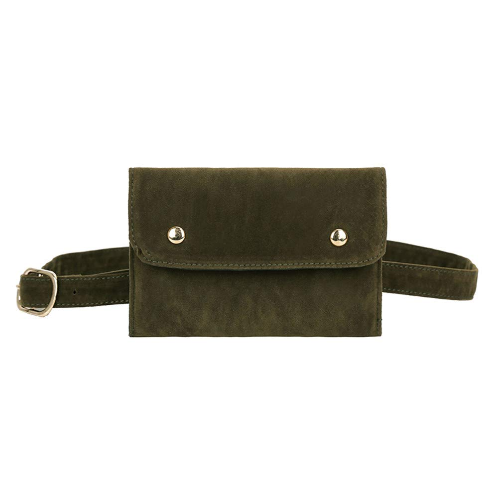Inkach Waist Pack Bag | Womens Faux Suede Square Fanny Pack - Adjustable Belt Crossbody Shoulder Chest Bags (Green)