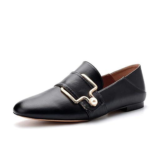 Mocasines Zapatos Solos Casuales, Hebilla De Metal, Zapatos Planos, Perla, Dos,