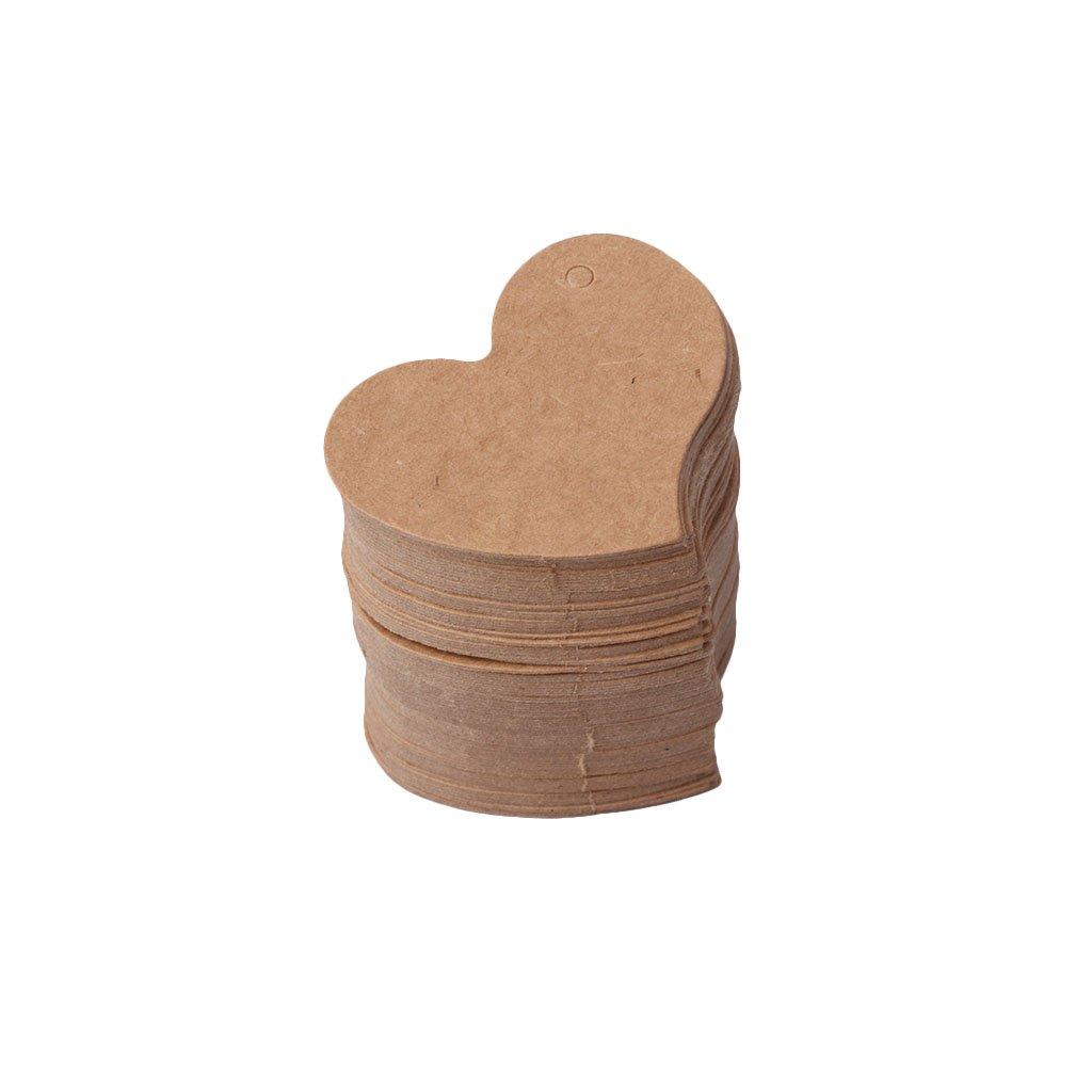 Xuniu 100 pezzi a forma di cuore vuoto Kraft carta regalo etichetta etichetta fai da te festa matrimonio artigianale bianco