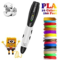 3D Pen, Zerofire 3D Printing Pen with LCD Screen Display Compatible with PLA ABS Mode Options, Pack with 16 Colors 160 Feet 1.75mm Filament Refills for Kids and Adults