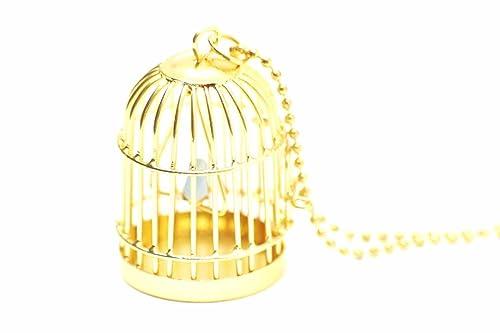 Miniblings Birdcage Cadena Collar 80cm Bird Cadena de Oro Jaula de ...