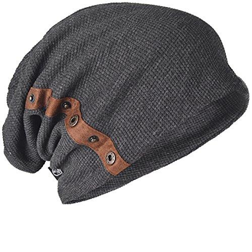 (Z&S Chic Mens Slouchy Loose Beanie Cotton Skull Cap Winter Hat B020 (Dark Gray))