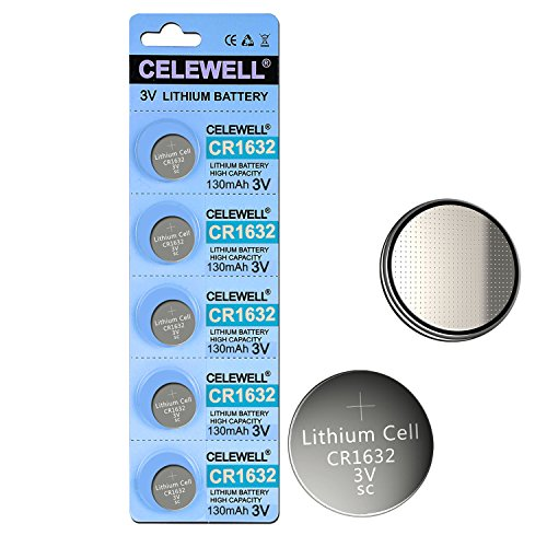CELEWELL 5pcs CR1632 Battery 3-Year Warranty High Capacity 130mAh Lithium Coin Button Cell 3V