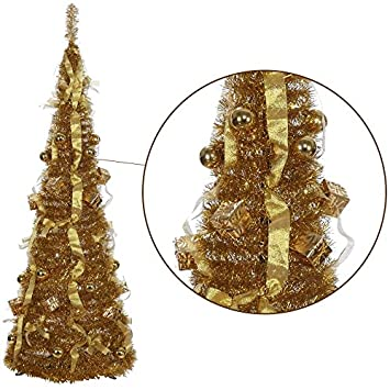Homegear 5FT Artificial Tinsel Decorated Christmas Tree Gold