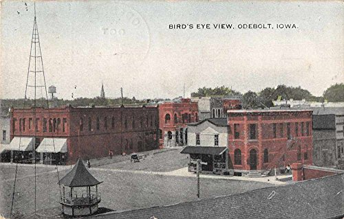 (Odebolt Iowa birds eye view horse buggy businesses antique pc Z41354)
