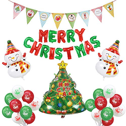 (Merry Christmas Party Balloon Decoration Set,Christmas Letter Balloon Cartoon Banner Snowman Santa Claus,Holiday New Year Decoration Photo Prop - 14Pcs Latex)