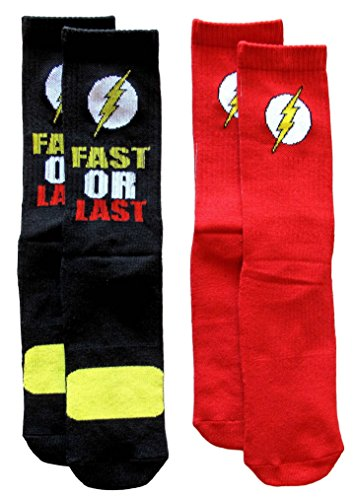 Flash Logo 2 Pairs Pack Men's Athletic Crew Socks, Red, One Size from DC Comics