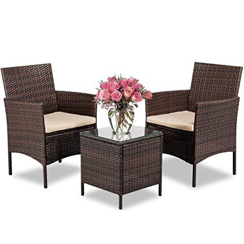 Fdw Wicker Patio Furniture Sets 3 Piece Outdoor Bistro Set Rocking Chair Patio Set Rattan Chair Conversation Sets For Backyard Porch Poolside With Coffee Table On Galleon Philippines