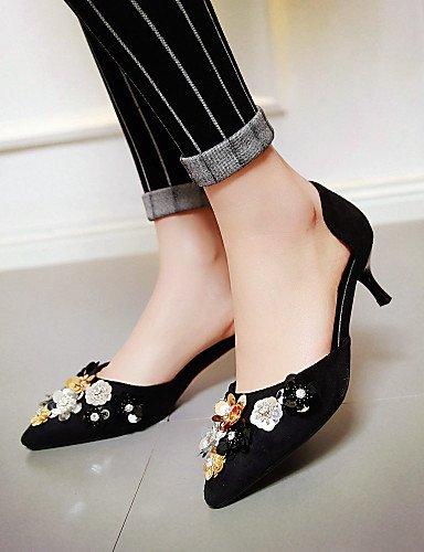 LFNLYX Zapatos de mujer-Tacón Kitten-D'Orsay y Dos Piezas / Puntiagudos-Sandalias-Vestido / Casual / Fiesta y Noche-Semicuero-Negro / Rosa / Red