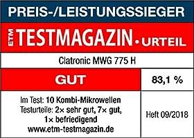 Clatronic MWG 775 H Microondas con grill y horno convección, 1300 W, 23 litros, Acero inoxidable