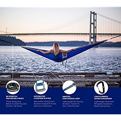 Outpost Camping Hammock With Adjustable Suspension System- Includes 11' 100% Polyester Tree Straps, Wire Gate Carabiners- Double Size - 100% Ripstop Parachute Nylon (Gray/Blue, Double) : Garden & Outdoor
