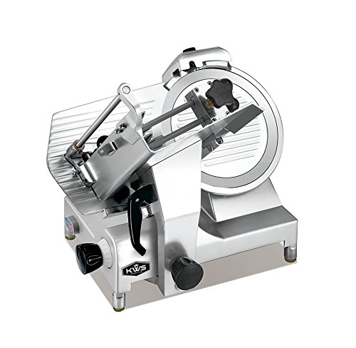 KWS MS-12HP Premium 450w Electric Meat Slicer 12-Inch Stainless Blade With Commercial Grade Carriage, Frozen Meat Cheese Food Slicer Low Noises Commercial and Home Use