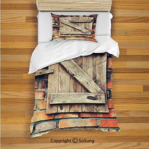 SoSung Rustic Kids Duvet Cover Set Twin Size, Natural Material Wooden Window of a Red Brick Country House Idyllic Pastoral Theme 2 Piece Bedding Set with 1 Pillow Sham,Light Brown