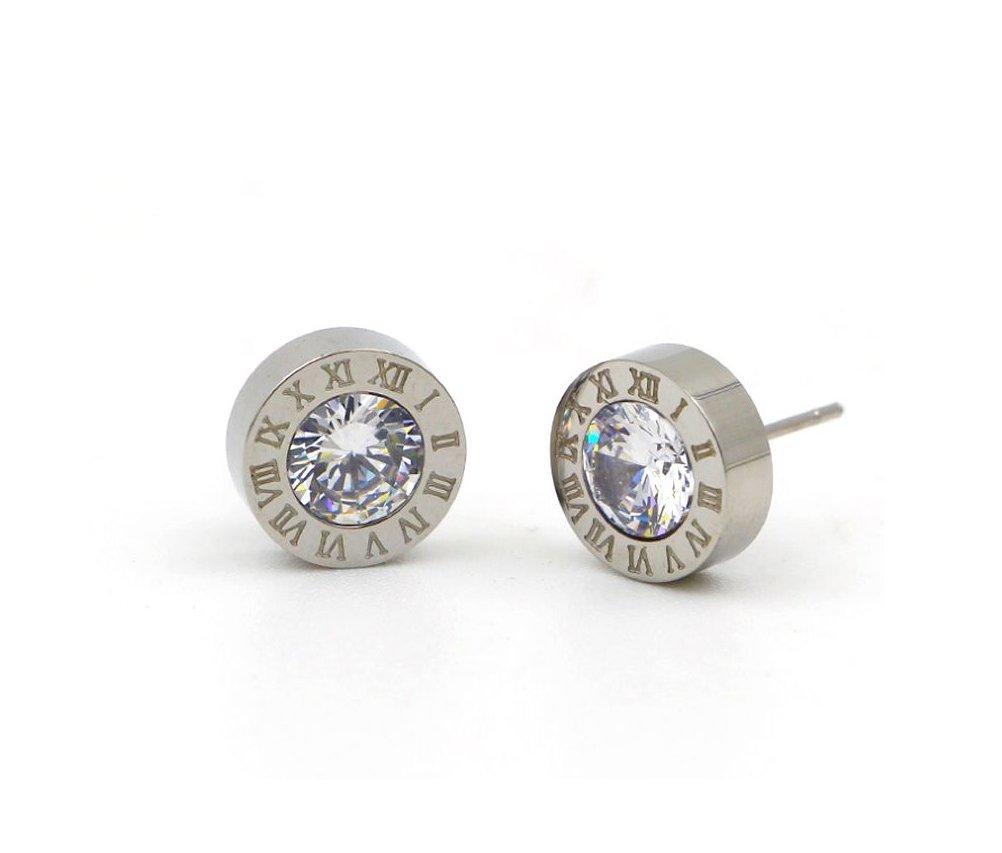 Boucles d'oreilles à tige en acier avec chiffres romains et éléments en cristal Swarovski Designer Inspired RomanSteelEarringsYGold