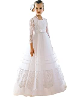 66cc1eb4cc960 CoCoGirls Girls Wedding Communion Lace Ribbons Long Flower Girl Dresses
