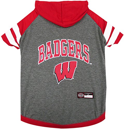 NCAA Wisconsin Badgers Hoodie for Dogs & Cats, Small. | Collegiate Licensed Dog Hoody Tee Shirt | Sports Hoody T-Shirt for Pets | College Sporty Dog Hoodie Shirt.