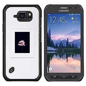 TECHCASE---Cubierta de la caja de protección para la piel dura ** Samsung Galaxy S6 Active G890A ** --gris pétalo de rosa marco negro de primavera