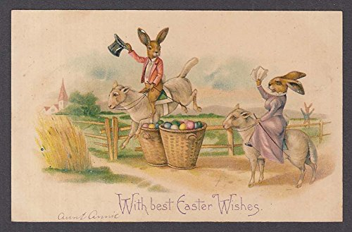 Easter Bunnies riding Lambs undivided back embossed postcard 1900s