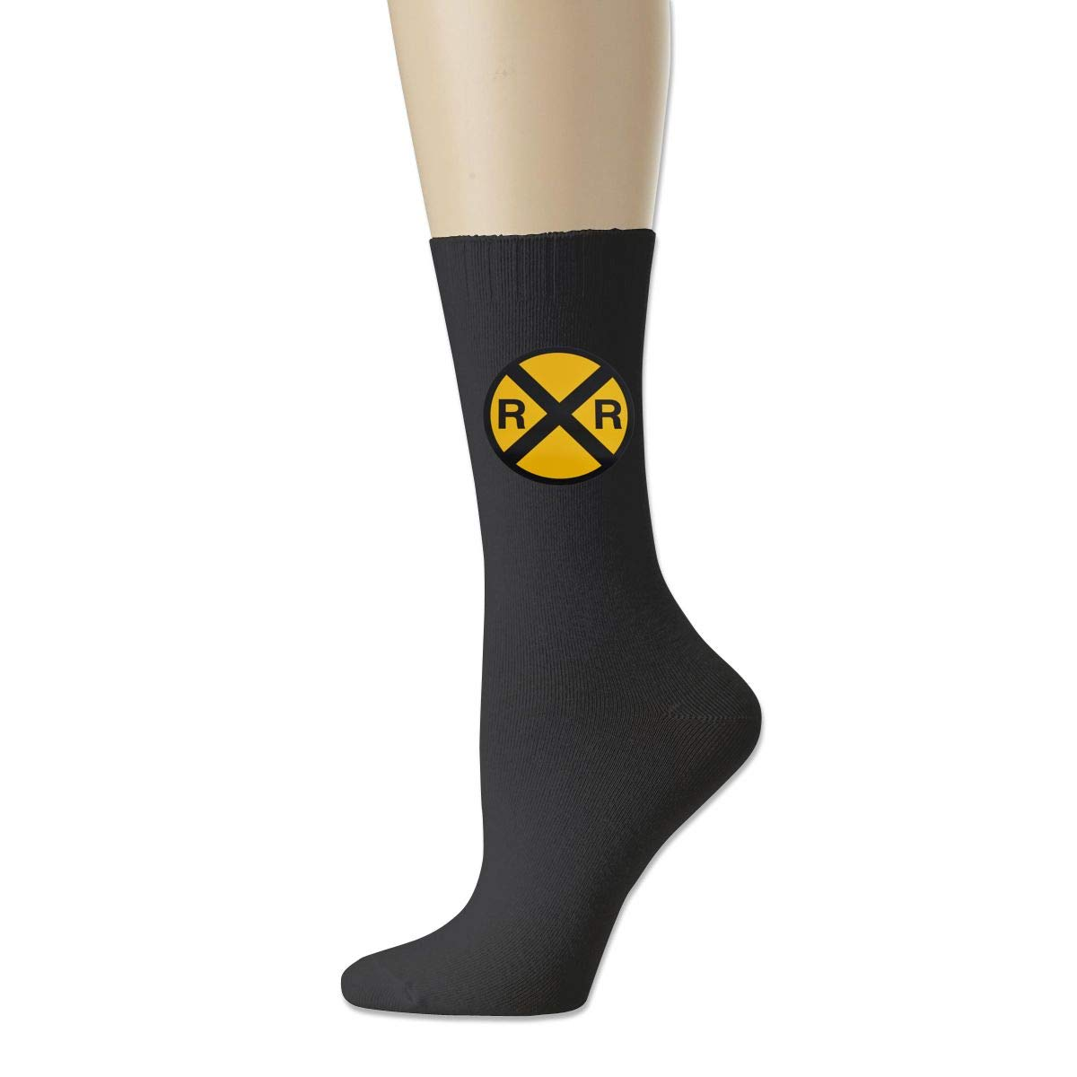 Cotton Crew Bobbysox Ski Socks Unisex Soccer Socks Cotton Socks-Railroad Crossing Sign