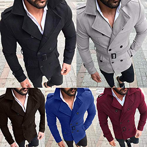 SMALLE ◕‿◕ Clearance,Outwear for Men, Autumn Winter Slim Fit Long Sleeve SuitTop Jacket Trench Coat Outwear by SMALLE (Image #4)