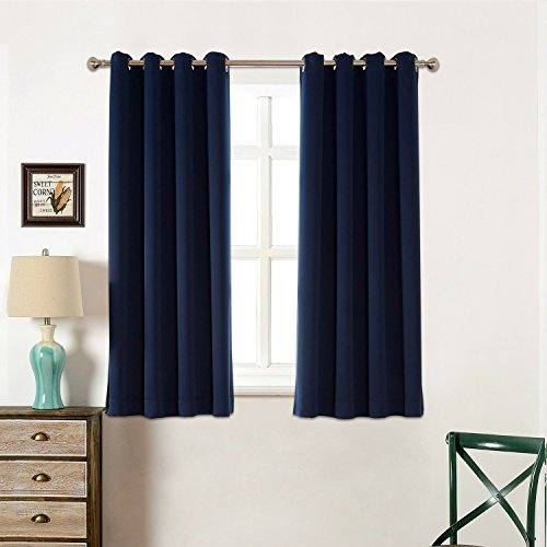 Sleep Well Blackout Curtains Toxic Free Energy Smart Thermal Insulated,52 W X 63 L Inch,Grommet Top,Set Of 2 Panels With Bonus Tie Back(Navy Blue)