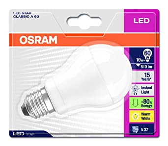 osram e27 60 watt led classic shape bulb frosted non dimm lighting. Black Bedroom Furniture Sets. Home Design Ideas