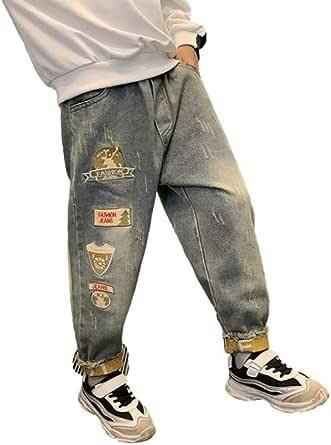 HOSD Pantalones para niños Jeans de Invierno 2019 más Terciopelo Engrosamiento niño Nueva versión Coreana de Pantalones Pantalones Sueltos de Aire Extranjero