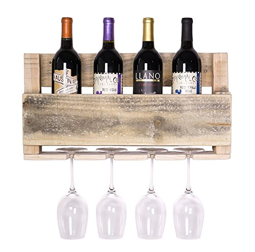 del Hutson Designs - The Little Elm Wine Rack, USA Handmade Reclaimed Wood, Wall Mounted, 4 Bottle 4 Long Stem Glass Holder (Natural)