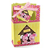 Big Dot of Happiness Twin Girl Puppy Dogs - Baby Shower or Birthday Party Favor Boxes - Set of 12