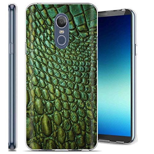 LG Stylo 4 / Stylo 4 Plus Phone Cover Case by [TalkingCase], Clear Premium Thin Gel Phone Cover, Ultra Flexible Slim TPU, Made Specially for LG Stylo4,Stylo4 Plus [Satin Green Crocodile] Design ()