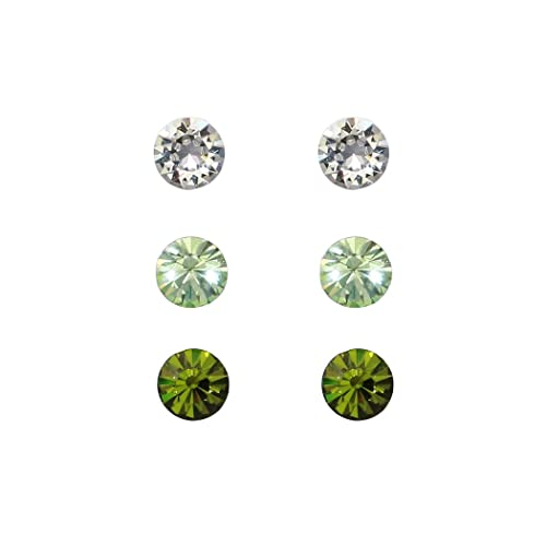 5e806fa01e16 Rosemarie Collections Women s 6mm Hypoallergenic Stud Earrings Set of 3  Made with Swarovski Crystals (Green