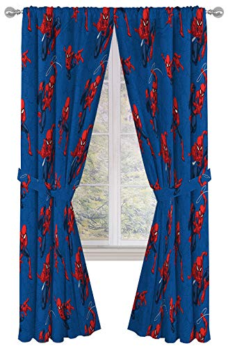 Jay Franco Marvel Spiderman Spidey Crawl Blue 84 Inch Drapes 4 Piece Set - Beautiful Room Décor & Easy Set Up - Window Curtains Include 2 Panels & 2 Tiebacks (Official Marvel Product)