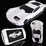WwWSuppliers New 3D AMERICAN MUSCLE Edition Luxury Race Sports Automobile Car Case for Apple iPhone 6 Plus / 6S Plus Kick-Stand Hard Protective Cover + Screen Protector (White)