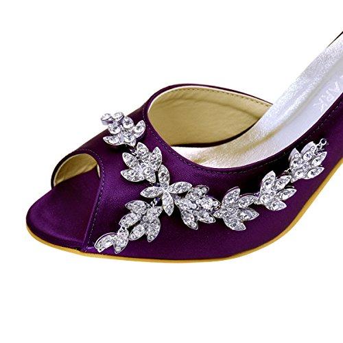 Elegantpark Mujeres Pío Pedrería Toe Bombas De Tacón Zapatos De Boda De Raso De Noche De Fiesta Púrpura Profesional en línea Proveedor más grande Gran sorpresa en línea pWhcE9F8XI