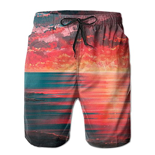 Sunset Seaside Couple Beach Art Men's Boy Casual Quick-Drying Beach Pant Swim Surf TrunksXX-Large by DELIDAA