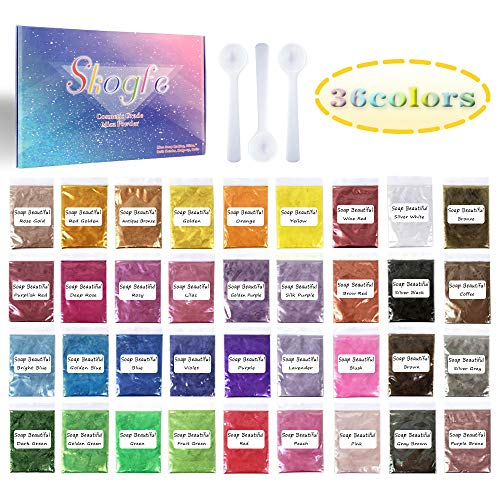 Mica Powder-Soap dye Soap Colorant for Bath Bomb Dye Colorant-Soap Making dye,36 Colors Soap Making Kit-Hand Soap Making Supplies-Resin Dye - Mica Powder Organic for Soap Molds-Makeup Dye