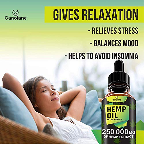 51aAueZHn5L - Hemp Oil Drops, 250 000 mg, Natural CO2 Extracted, 100% Organic, Pain, Stress, Anxiety Relief, Reduce Insomnia, Vegan Friendly, Zero CBD, Zero THC