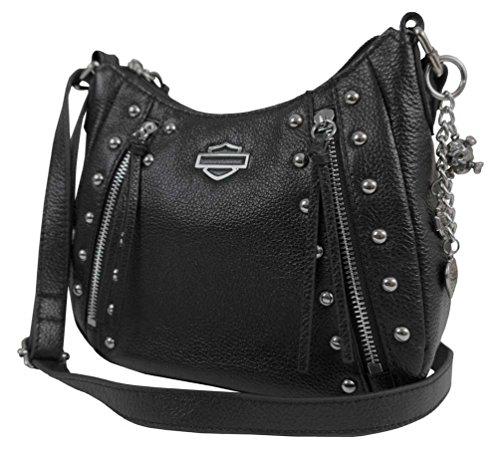 Harley-Davidson Women's Studded Rider Leather Crossbody Purse Bag Black