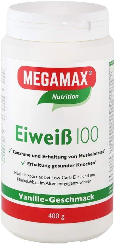 MEGAMAX - Eiweiss - Proteínas de suero de leche y proteínas lácteas - Crecimiento muscular y dieta - Valor biológico aprox. 100 - Vainilla - 400 g: Amazon.es: Deportes y aire libre