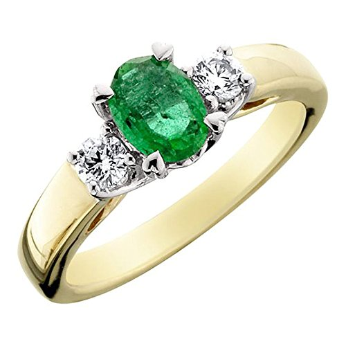 Amoro 14kt Two-Tone Gold Emerald and Diamond Ring (0.27 cttw, H-I Color, SI 1-2 Clarity) 14kt 2 Tone Diamond Ring