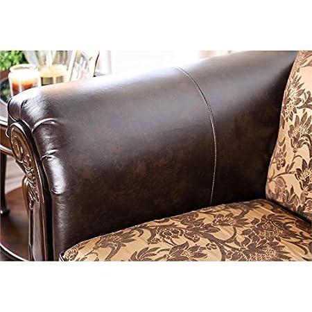 Amazon.com: Furniture of America Yva Faux Leather Loveseat ...