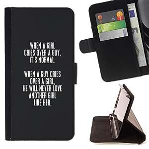BullDog Case - FOR/Samsung Galaxy S5 Mini, SM-G800 / - / grey girl love guy lesson valentines quote /- Monedero de cuero de la PU Llevar cubierta de la caja con el ID Credit Card Slots Flip funda de cuer