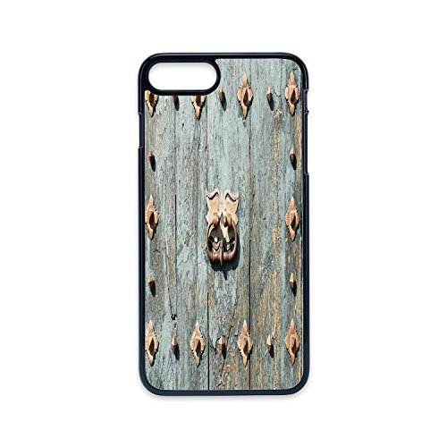 Phone Case Compatible with iPhone7 plus iPhone8 plus 2D print Black edge,Rustic,European Cathedral with Rusty Old Door Knocker Gothic Medieval Times Spanish Style Decorative,Turquoise,Hard Plastic Pho