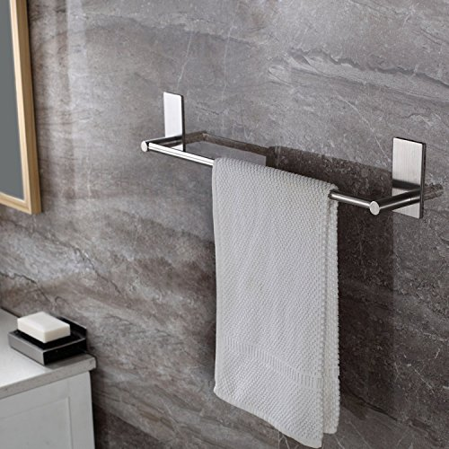 ZETA SUS304 Stainless Steel Self-adhesive 16-Inch Bathroom Kitchen Single Towel Bar Bath Wall Shelf Rack Hanging Towel Stick On Sticky Hanger Contemporary Style, Brushed Finish by Zeta Industries