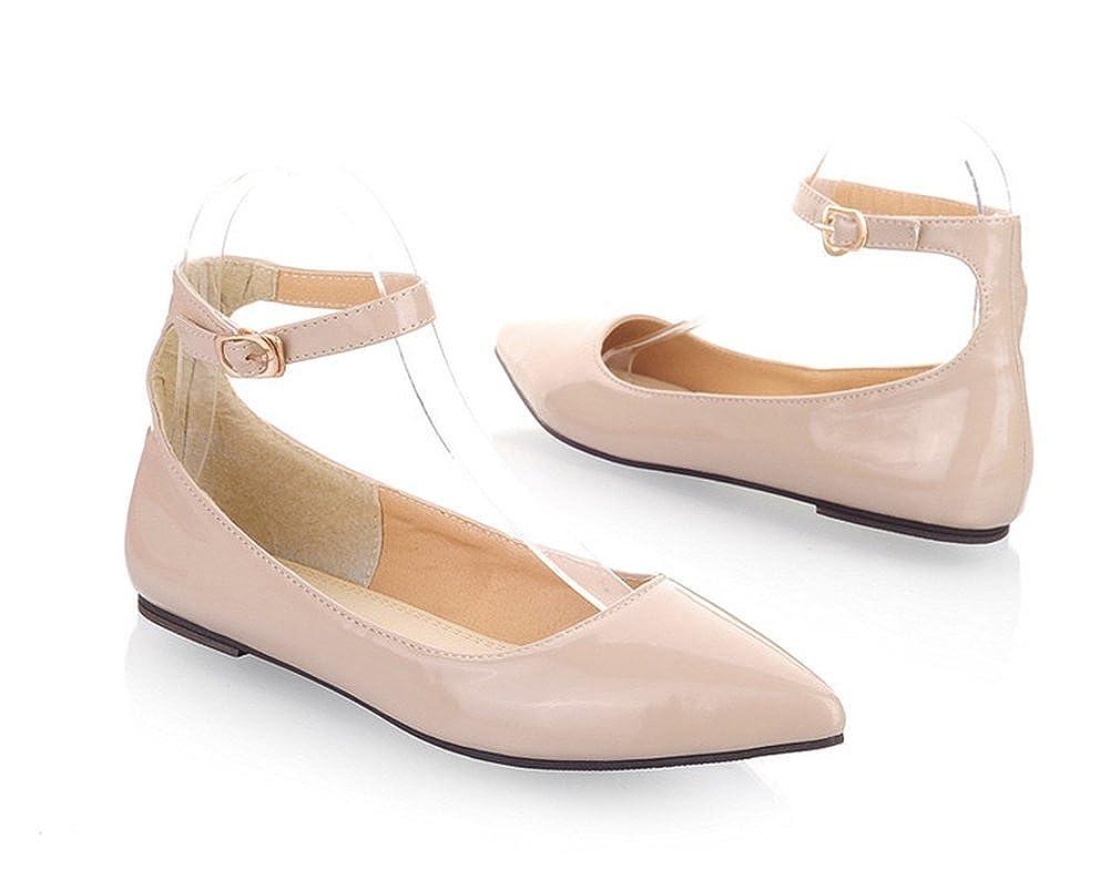 Aisun Womens Comfy Candy Color Patent Leather Ankle Strap Flats Shoes
