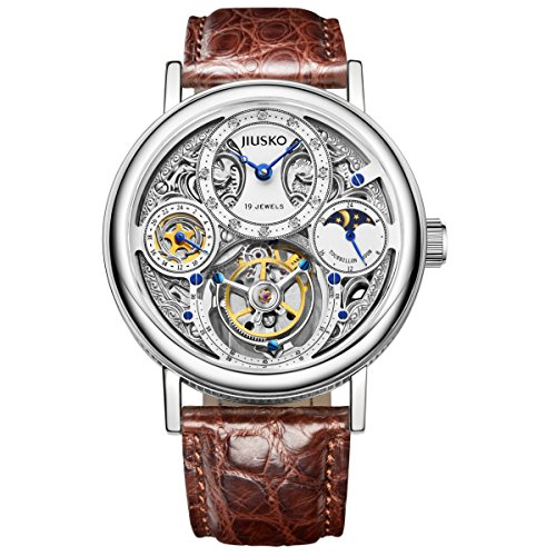 Jiusko Diamond - Men's Mechanical Tourbillon Luxury Skeleton Dress Watch - Sapphire - Genuine Alligator Brown Leather Strap