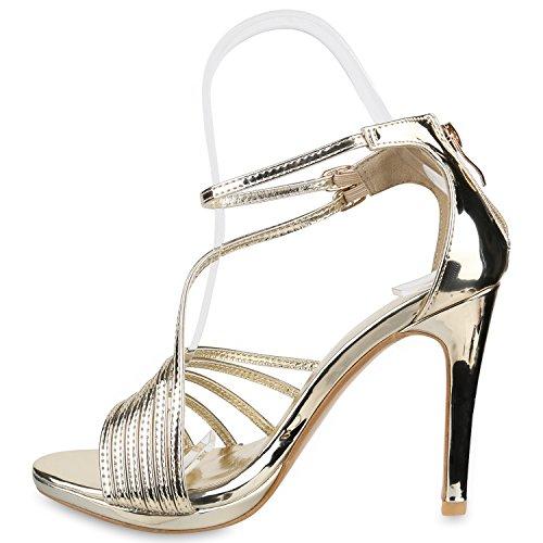 Stiefelparadies Damen Sandaletten High Heels Schaftsandaletten Stilettos Lack Metallic Partyschuhe Nieten Strass Fransen Lace Up Schuhe Flandell Gold Metallic Carlet