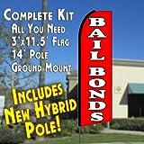 BAIL BONDS (Red) Flutter Feather Banner Flag Kit (Flag, Pole, & Ground Mt)