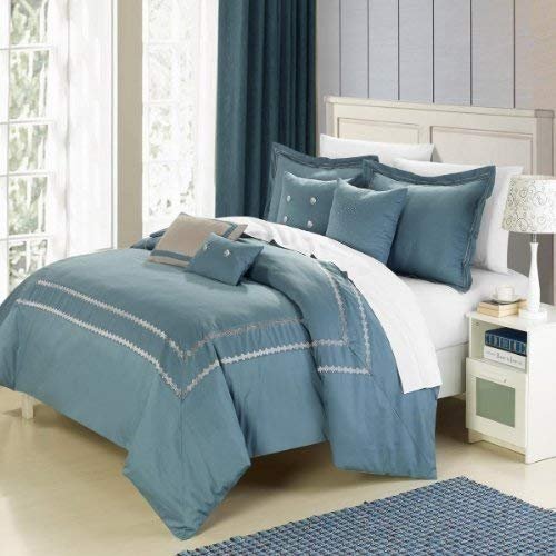 Queen Mandalay (Chic Home 7-Piece Mandalay Embroidered Comforter Set, Queen, Blue)